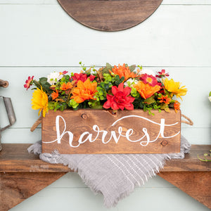 """harvest""  Hand-Lettered Rustic Box (flowers included)"