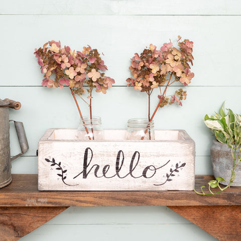 """hello""  Hand-Lettered Rustic Box"