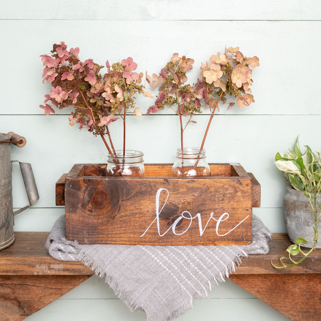 """love""  Hand-Lettered Rustic Box"