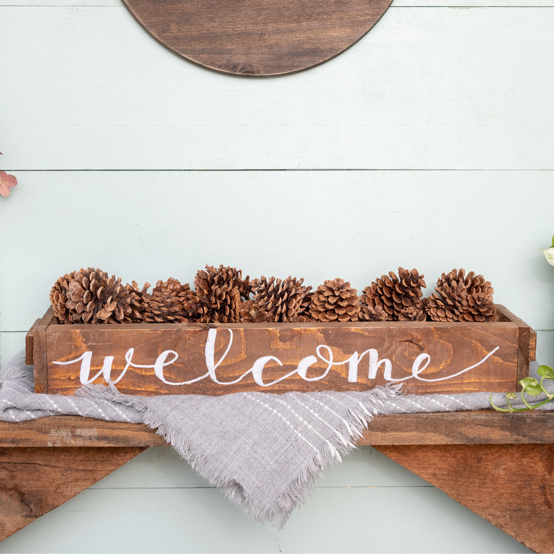 """Welcome"" Hand-Lettered Rustic Box"