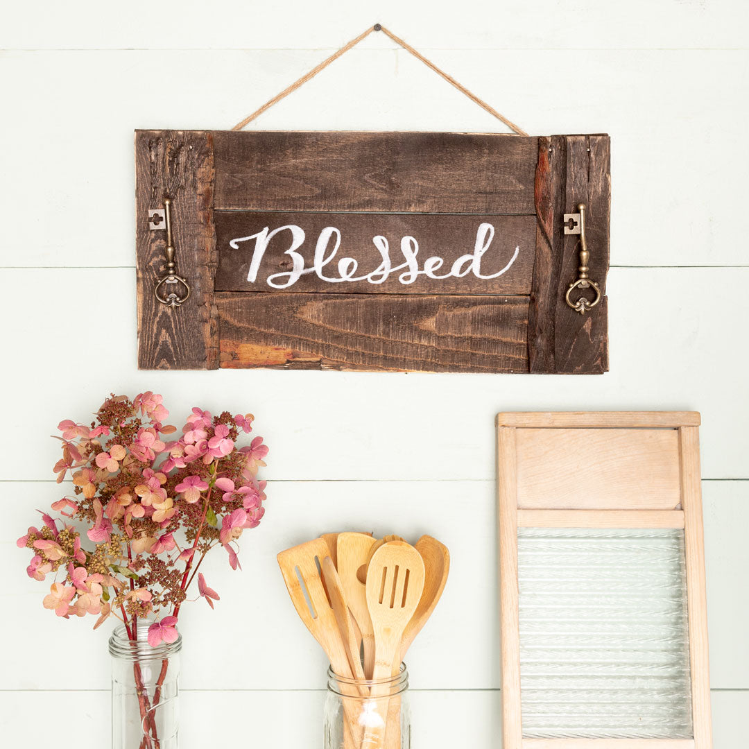 """blessed"" Hand-Lettered Tray"