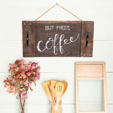 """But first, coffee"" Hand-Lettered Tray"