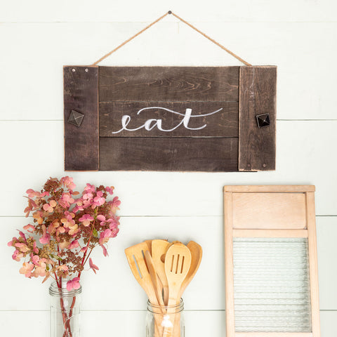 """eat"" Hand-Lettered Tray"