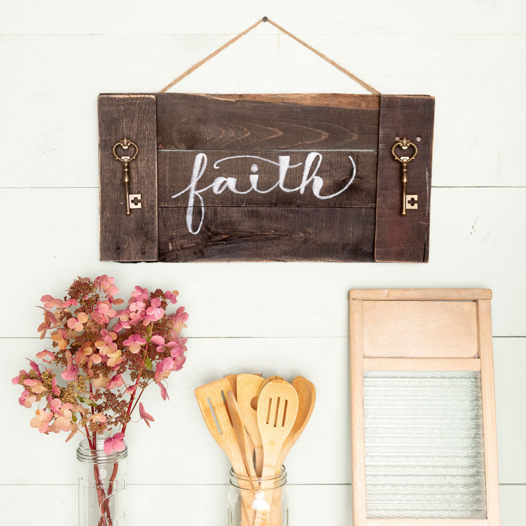 """faith"" Hand-Lettered Tray"