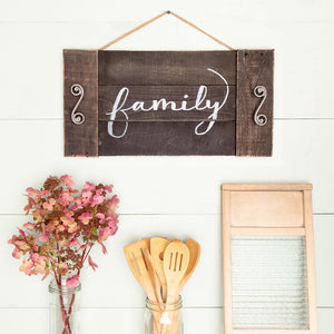 """family"" Hand-Lettered Tray"