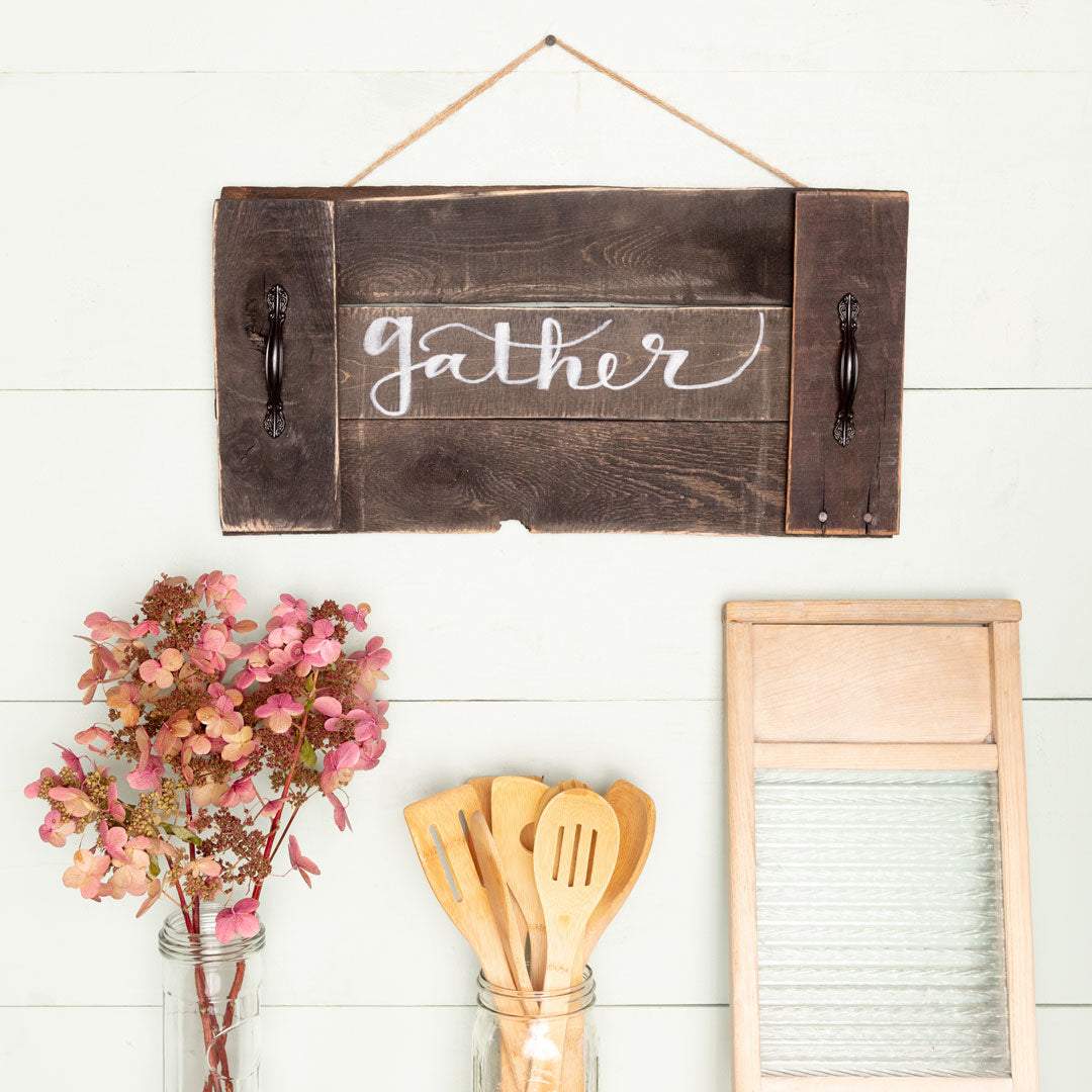 """gather"" Hand-Lettered Tray"