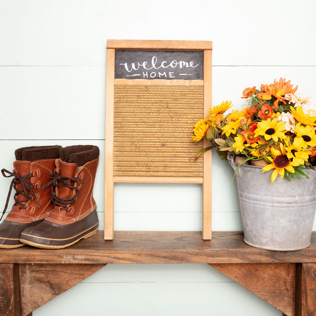 """welcome home""  Hand-Lettered Antique Washboard"