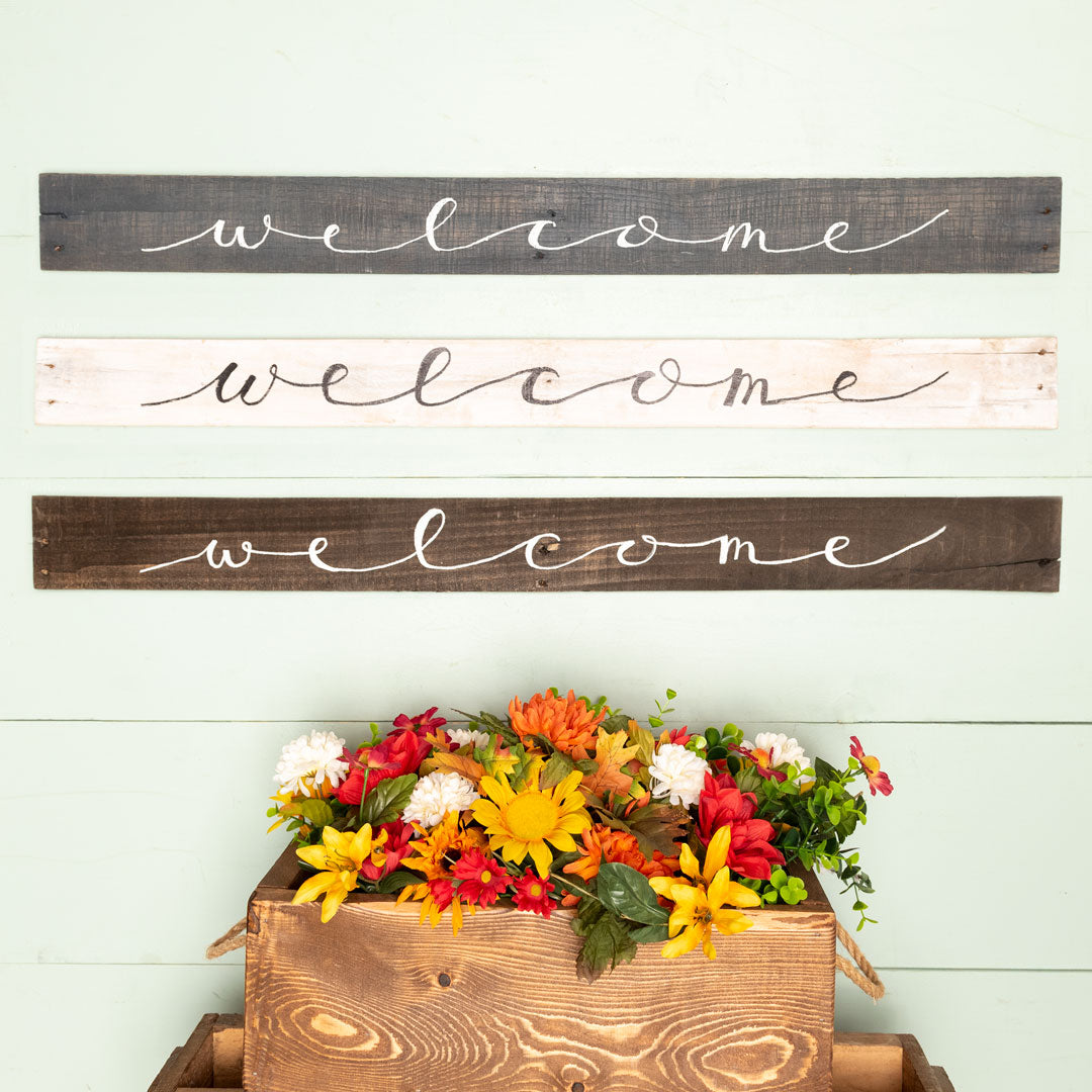 """welcome"" Hand-Lettered Sign (whitewash)"