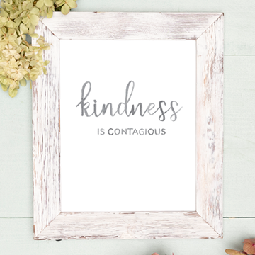 """Kindness is Contagious"" Watercolor Lettering Digital Print"
