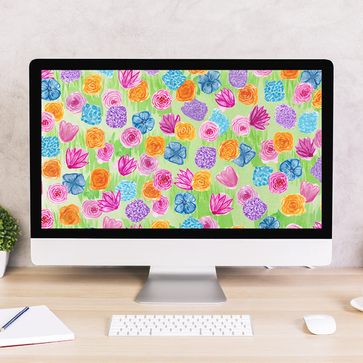 May Flowers Watercolor Digital Wallpaper