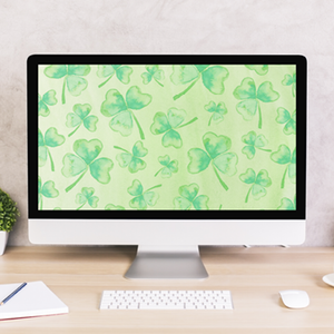 Shamrocks Watercolor Digital Wallpaper
