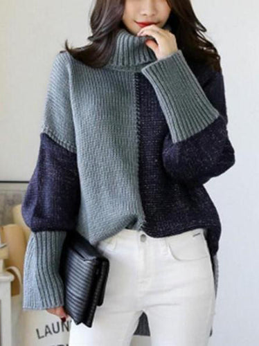 faa69422e9 Autumn And Winter Warm Color Matching Loose High Neck Knitted Sweater