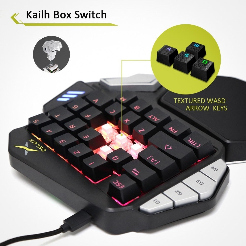 0f98fe532b2 Delux T9X One Handed RGB Backlit Mechanical Gaming Keyboard – Top ...