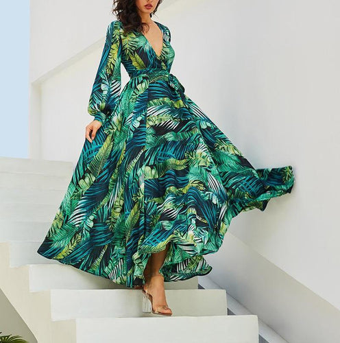 Long Sleeve Dress Green Tropical Beach Vintage Maxi Dresses Boho Casual V Neck Belt Lace Up Tunic Draped Dress