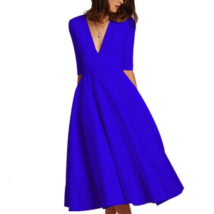AOTEMAN Red Blue Black Fuscia White Vintage Autumn Summer Dress Women New Casual Elegant Ball Gown Dress Female Sexy V Neck Long Party Dresses 3XL
