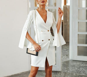 Elegant lace up split blazer women dress Autumn 2019 double breasted white dress Office slim ladies dresses