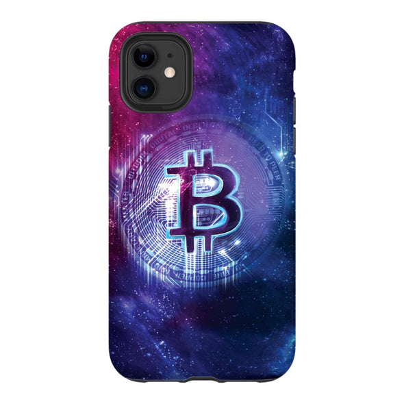 bitcoin blue and purple space iphone android google phone cases for sale