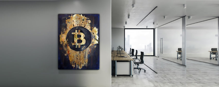 bitcoin btc logo gold and black office wall art