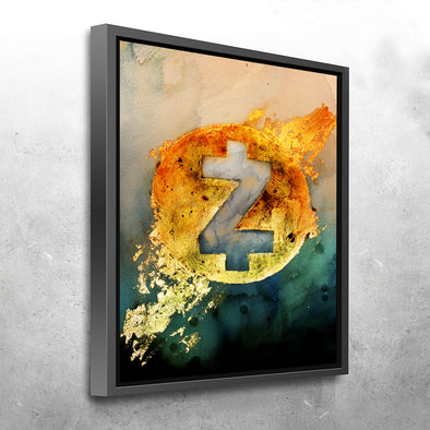 MyCryptoCanvas framed zcash cryptocurrency canvas wall art artwork for sale