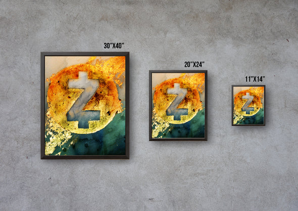 MyCryptoCanvas framed z cash cryptocurrency canvas wall art artwork for sale