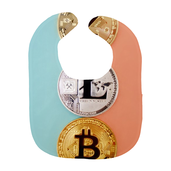 Bitcoin BTC litecoin ltc blue and pink baby bib for sale