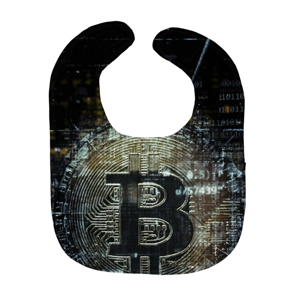black bitcoin btc baby bib for sale with logo
