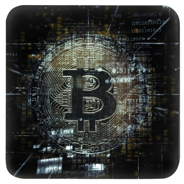 black bitcoin logo beverage and drink coaster for sale