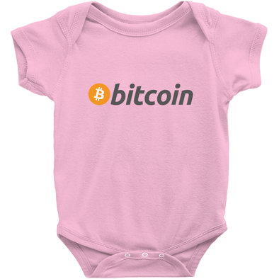 pink bitcoin btc onesies for sale for infant baby and newborn