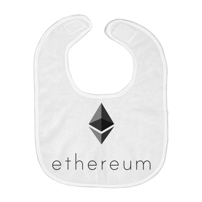 black ethereum eth logo on white baby bibs for sale