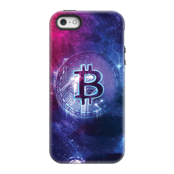 bitcoin btc logo blue and red modern phone case for sale