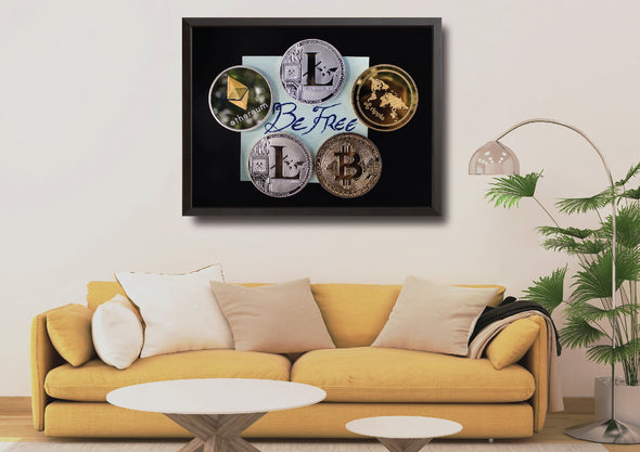 MyCryptoCanvas framed bitcoin cryptocurrency canvas wall art artwork for sale