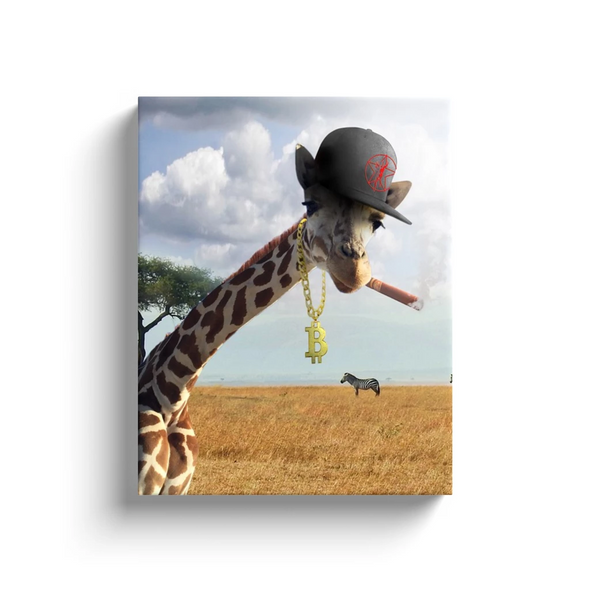 Bitcoin Canvas Artwork Giraffe Animal Safari Wall Gift for Sale
