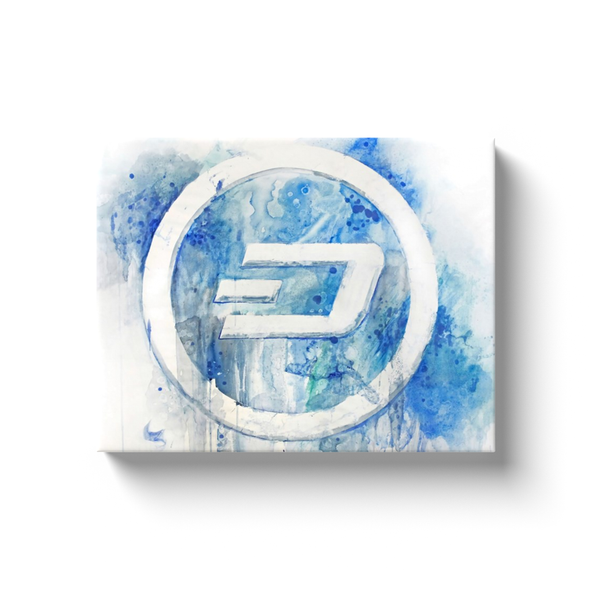 dash cryptocurrency white and blue canvas wall art gift