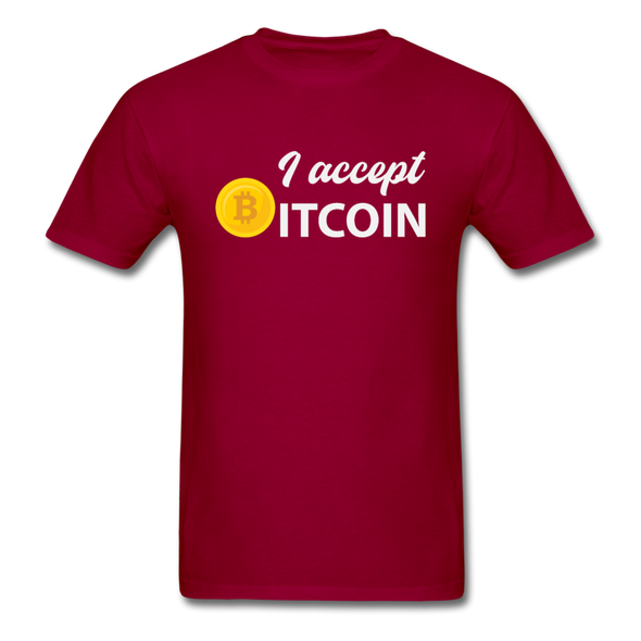 Men's I Accept Bitcoin - dark red
