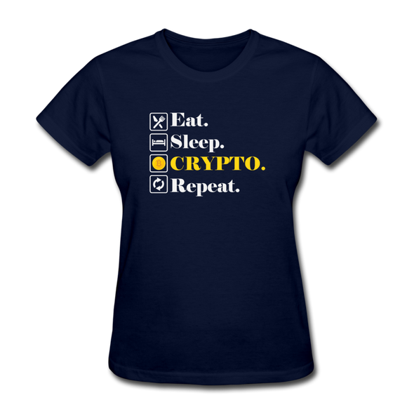 Women's Eat Sleep Crypto Repeat - navy
