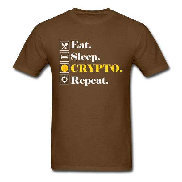 Men's Eat Sleep Crypto Repeat - brown