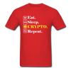 Men's Eat Sleep Crypto Repeat - red