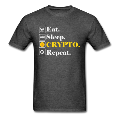 Men's Eat Sleep Crypto Repeat - heather black