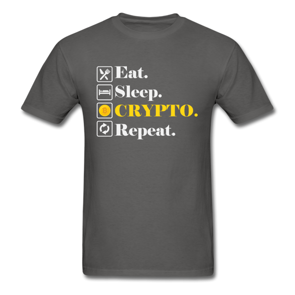 Men's Eat Sleep Crypto Repeat - charcoal