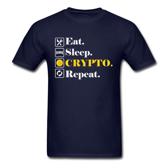 Men's Eat Sleep Crypto Repeat - navy