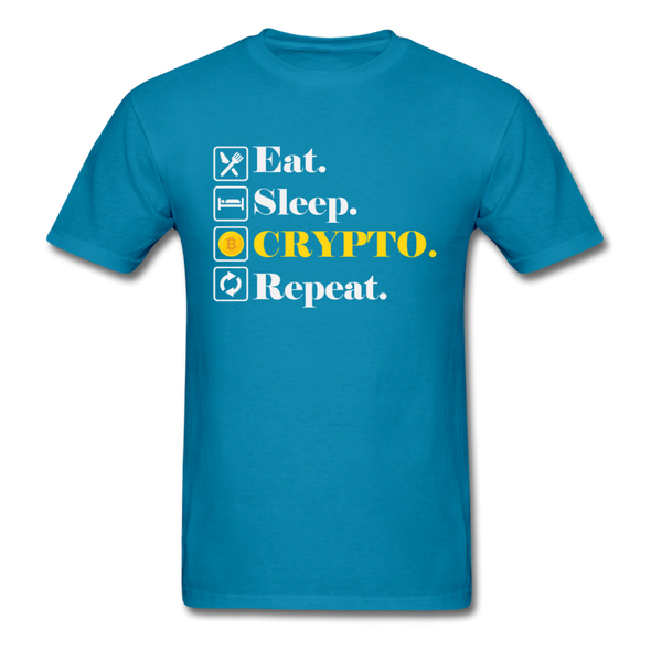 Men's Eat Sleep Crypto Repeat - turquoise