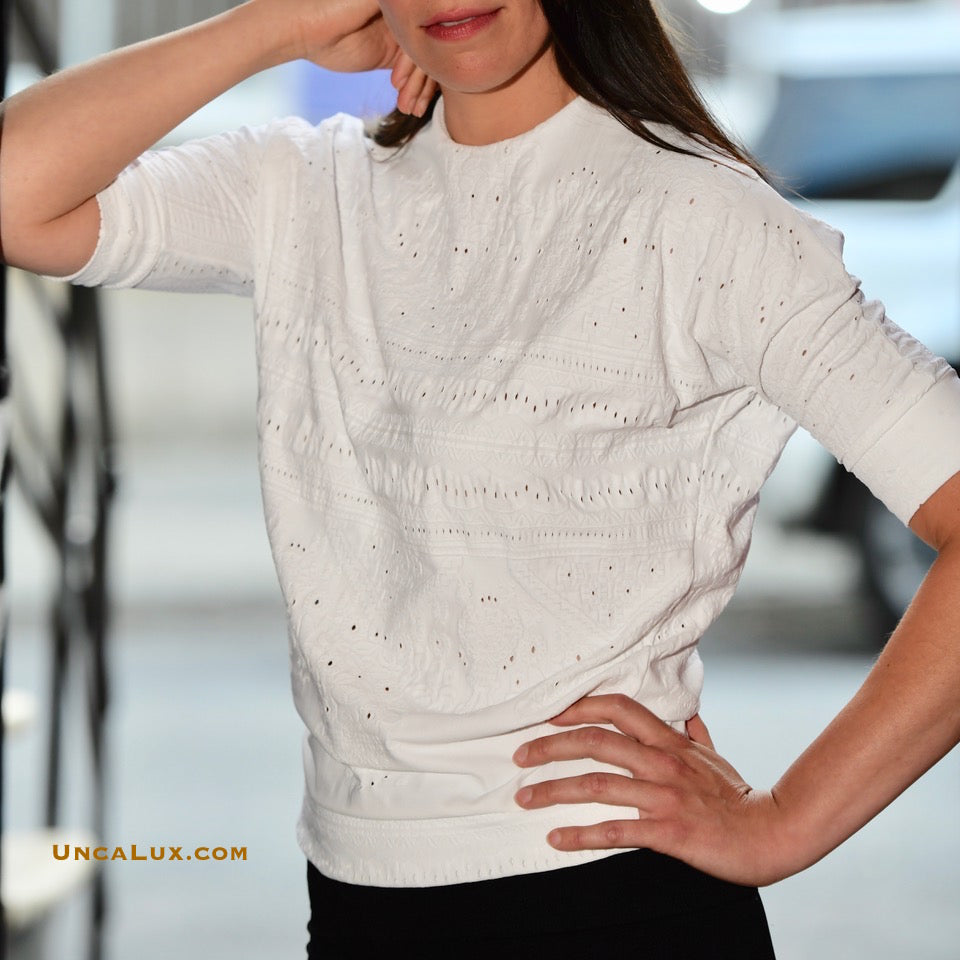 Blanc Tricot Short Sleeve Top