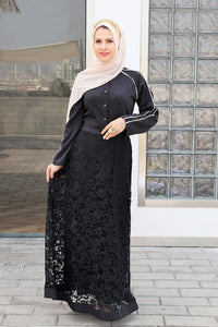 Elegant Lace Gown - Black