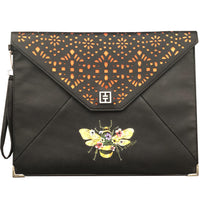 T&T  LASER CUT CLUTCH with HAPPY BEE hand painted - TURK & TURK