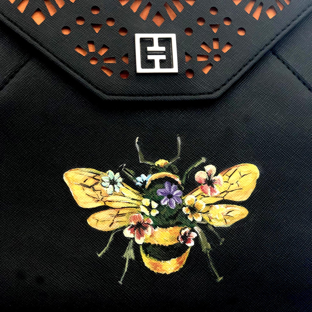 T&T  LASER CUT CLUTCH with HAPPY BEE hand painted