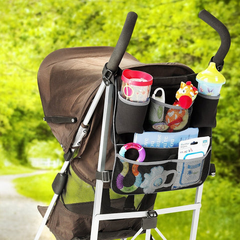 Baby Stroller/Car Seat Storage Bag | Diaper, Snack, Drink Pockets