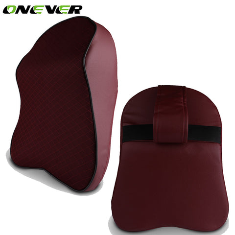Car Neck Pillow Head Headrest Pad Breathable Memory Foam Chair Nap Pillow PU Leather For Seat Car Interior Accessories