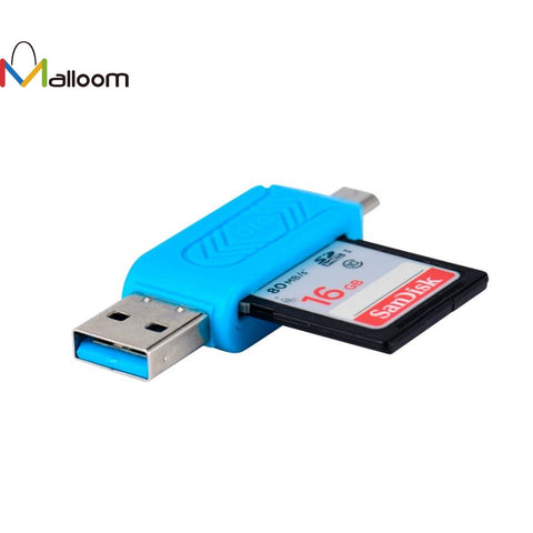 Black and Blue MINI USB 2.0 +OTG Micro SD/SDXC TF Card Reader Adapter Micro Read Card U Disk#20