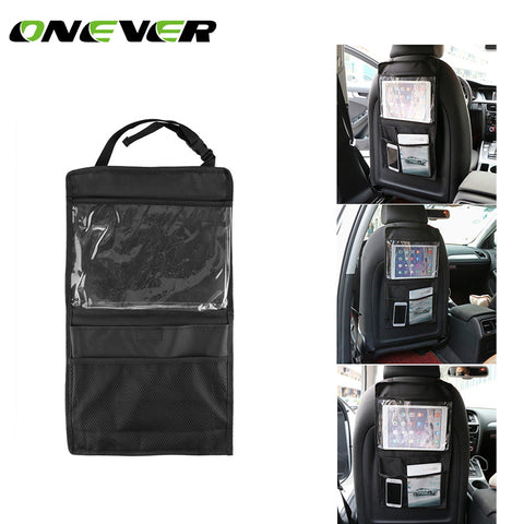 Car Seat back Travel Storage Bag Organizer Oxford Auto Seat Back Organizer with Transparent Pocket for iPad Bottle Magazine