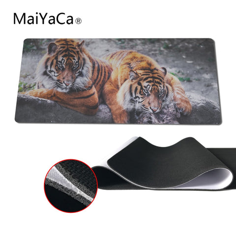 MaiYaCa Two Tigers Speed Keyboard Mouse Pad Rubber Mat Computer Gaming Mousepad Gamer for Large Size Table Mouse Mat